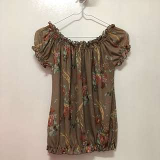 Vintage Floral Off Shoulder Top