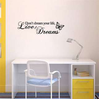 Live Dreams Word Art Vinyl Home Stickers DIY Wall Decal