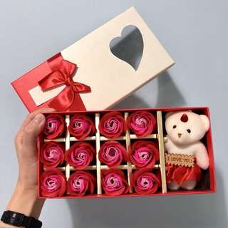 手工玫瑰皂連可愛小熊套裝