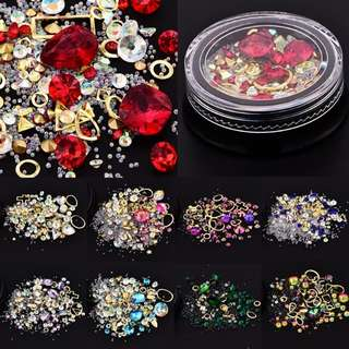 Mixed style 3d nail art decorations rhinestones caviar beads studs frame glitter nails accessoires manicure diy tool new 2018