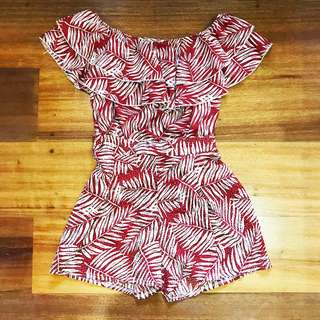 Red Maroon Tropical Print Off Shoulder Top & Shorts Set Coordinate Small