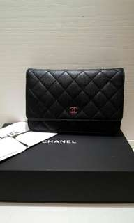 CHANEL CALFSKIN WOC 牛皮 銀鏈 Wallet on chain