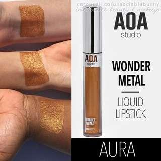 Aura. Wonder Metal Gold Liquid Lipstick US Aoa Studio Cosmetic Makeup Lip Topper