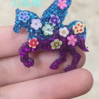 Blue and purple resin unicorn
