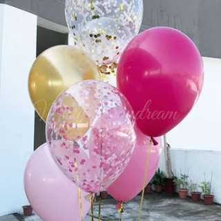 Helium Balloons - 12 Inch Confetti First Date Balloon