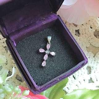 Pink crystal cross pendant