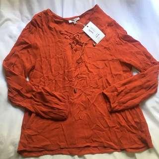 Valley Girl Orange Long Sleeved Blouse