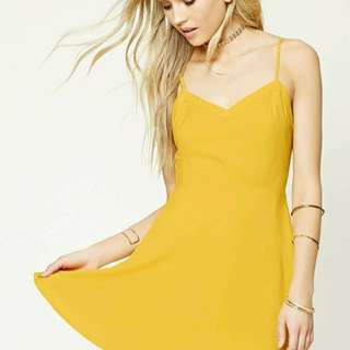 FOREVER 21 CAGE BACK MUSTARD YELLOW DRESS