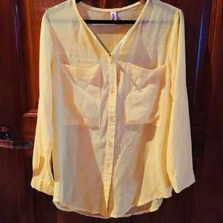Brand new Long sleeve Yellow Chiffon Blouse
