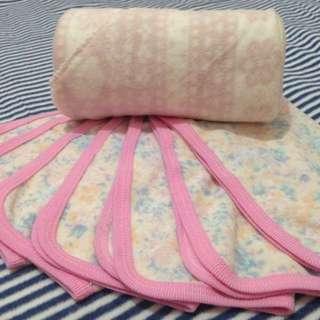 MARKDOWN! Fleece Hooded Baby Girl Blanket & Washcloths (Pink) Set