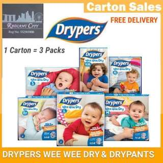 DRYPERS WEE WEE DRY DIAPERS CARTON OF 3 PACKETS SALE (FREE DELIVERY 📦).