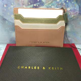 全新 charles & keith cardholder blush color 淺粉金色卡片套