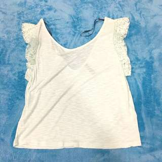H & M Size S Lime Green V Back Butterfly Sleeve Thin Tops