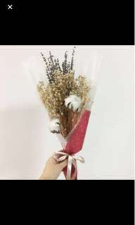 Dried Flower Bouquet in Baby Breath and Cotton Flower
