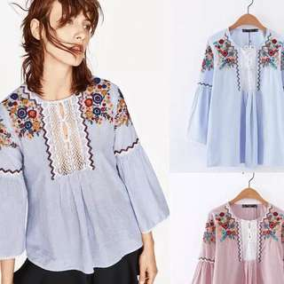 Stripes Long sleeve Embroidery Top / Blouse