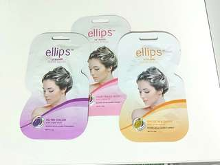"""BRAND NEW!!  NEW ELLIPS VITAMIN HAIR MASK IN SACHETS!!!  20G PER PACKET!! 3 """"FLAVOURS"""" SMOOTH& SHINY,  NUTRI COLOR WITH TRIPLE CARE (THOSE WHO DYE THEIR HAIR ALOT LIKE ME😂), ORIGINAL HAIR TREATMENT WITH JOJOBA OIL!!"""