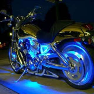 LED & Fiber Optics Lighting works in Motor Bike