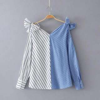 A31BL32J0 Blouse White And Blue
