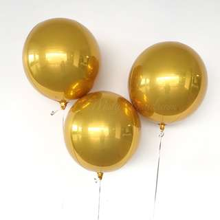 Helium Balloons - Orbz 16″/41cm Sphere Gold Shaped Balloon
