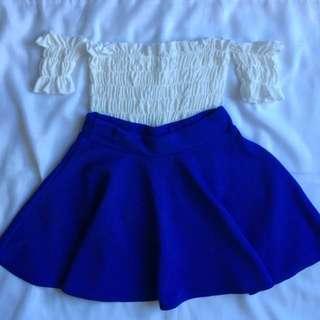 White Off shoulder + Blue skater skirt