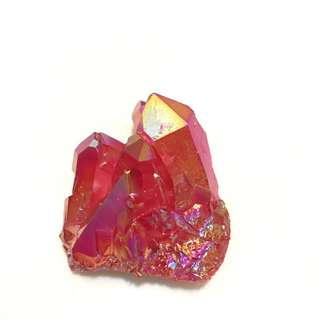 Red Quartz Crystal Rock - cluster geode gemstone