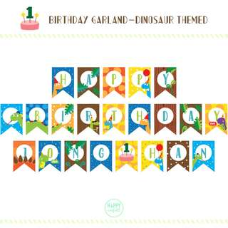 Customization Happy Birthday Garland | Bunting | Banner | Dinosaur Themed
