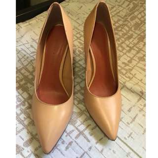 "Charles and Keith  Pointed Pumps 3"" Heels Nude Size 37"