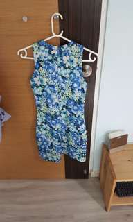 Special promo! Blue Flowery Dress (M Size) Good Quality Size: M