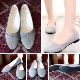 Grey Velvet Doll Flats