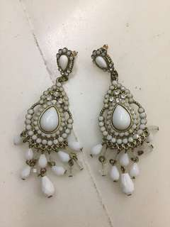 White Tribal Elegant Dangling Earrings