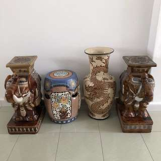 Antique Thai elephant and Chinese stool/vase