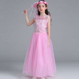European Flower girl Pink Wedding dress gauze dress flowers lace back