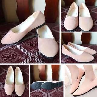 Peach Velvet Doll Shoes