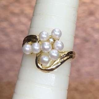 14kt pearl & diamond ring