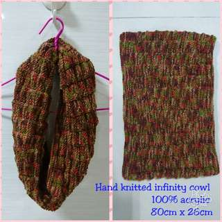 Hand knitted infinity cowl