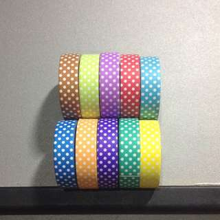 Set of 10 Polka Dots Assorted Color Washi Tape
