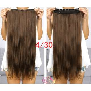 Classic 1 piece Hair Extensions Auburn Brown