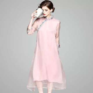 Real silk long shift modern pink cheongsam Qipao dress with collar and cuff embroidered plus size