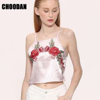 Satin Rose Embroidered Crop Top