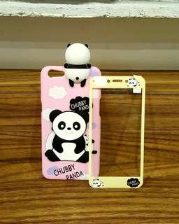 Softshell 3D peeking pink panda + tempered glass