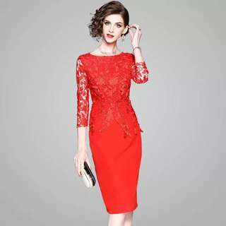 Bodycon 3/4 sleeve floral lace red dress bridal wedding toast dress