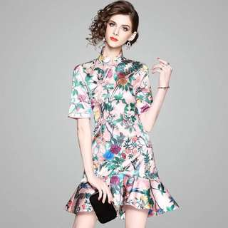 Modern floral print cheongsam dress fishtail flounced Qipao