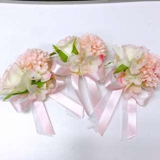 伴娘 姊妹 手花 絲花 結婚 裝飾 首飾 花球 襟花