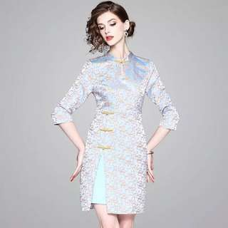 Modern vintage cheongsam floral jacquard dress modified traditional chinese costumes Qipao with a side slit