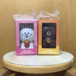 McDonalds line friends 兔子、熊仔 (麥當勞line friend手提風扇)