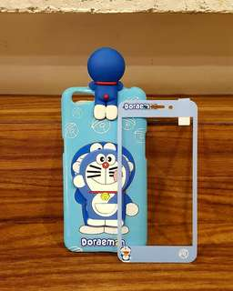 Softshell 3D peeking blue doraemon + tempered glass