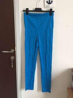 Blue Stretch Cotton Pants
