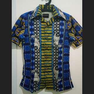 Baju Kemeja wanita Batik model Hongkong Ohrbach's Biru kuning
