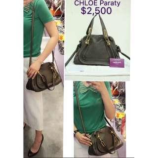 75% New CHLOE Paraty 深灰色 皮革 手提袋 手挽袋 肩背袋 手袋 Small Leather Handbag in Grey