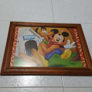 Mickey mouse poster w wooden frame